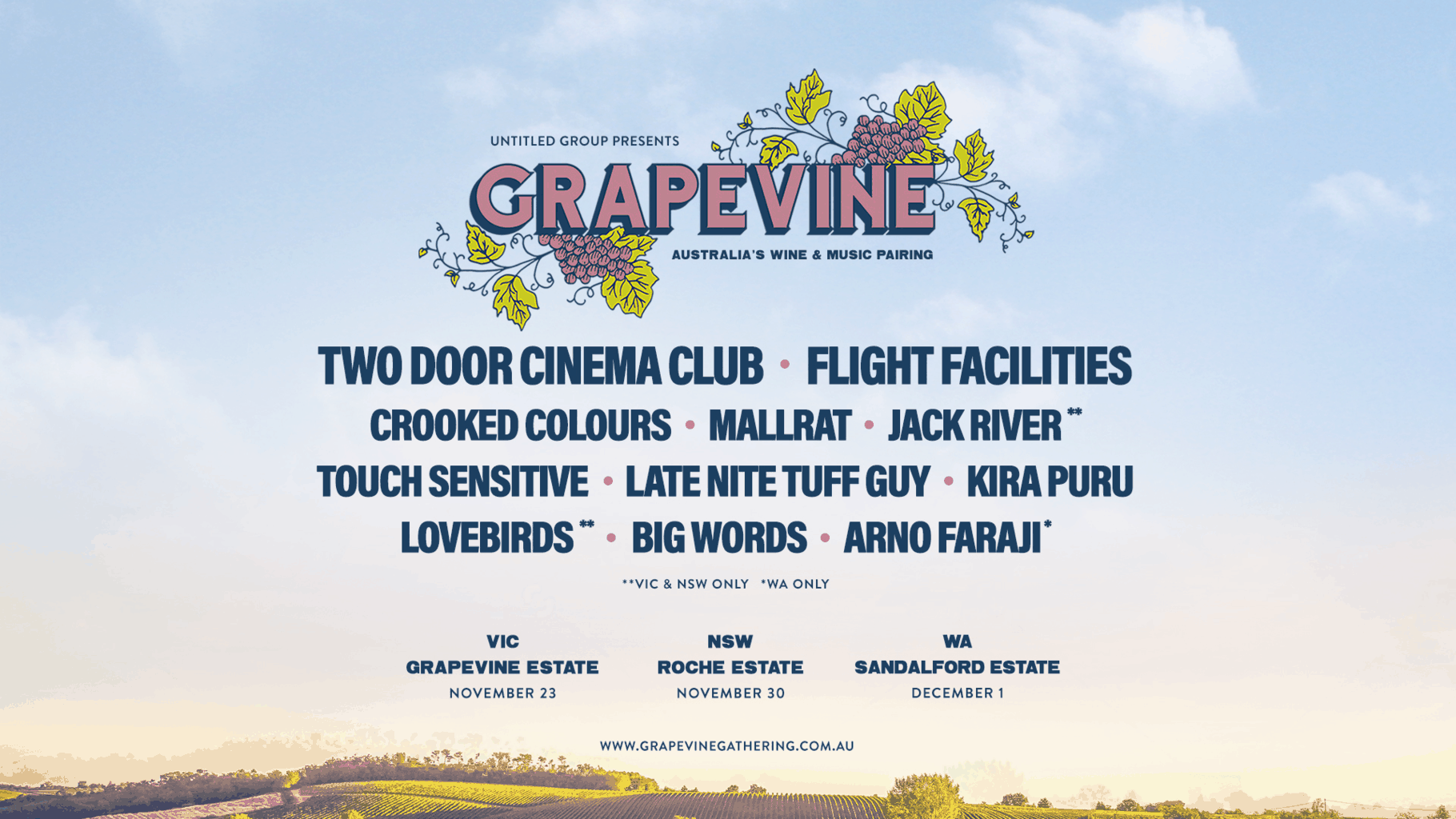 Scene News: Grapevine Gathering announces 2019 lineup featuring Two Door Cinema Club, Flight Facilities & more