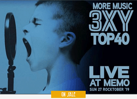 Scene News: 3XY Top 40 - Live at MEMO Music Hall - this Sunday 27 Rocktober 3:00pm