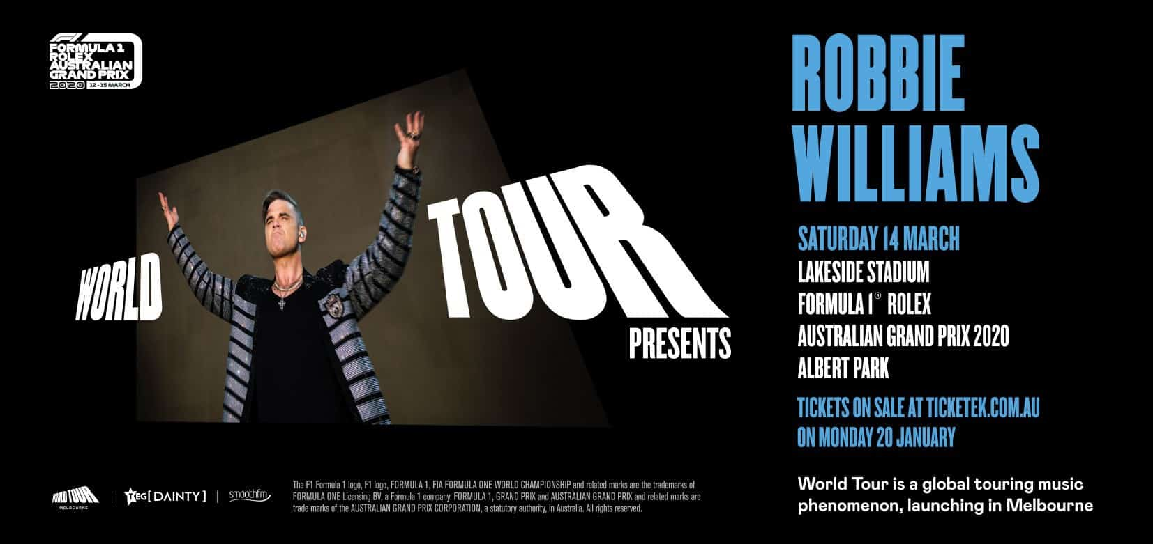 Scene News: Superstar ROBBIE WILLIAMS Confirmed to Headline the Inaugural World Tour
