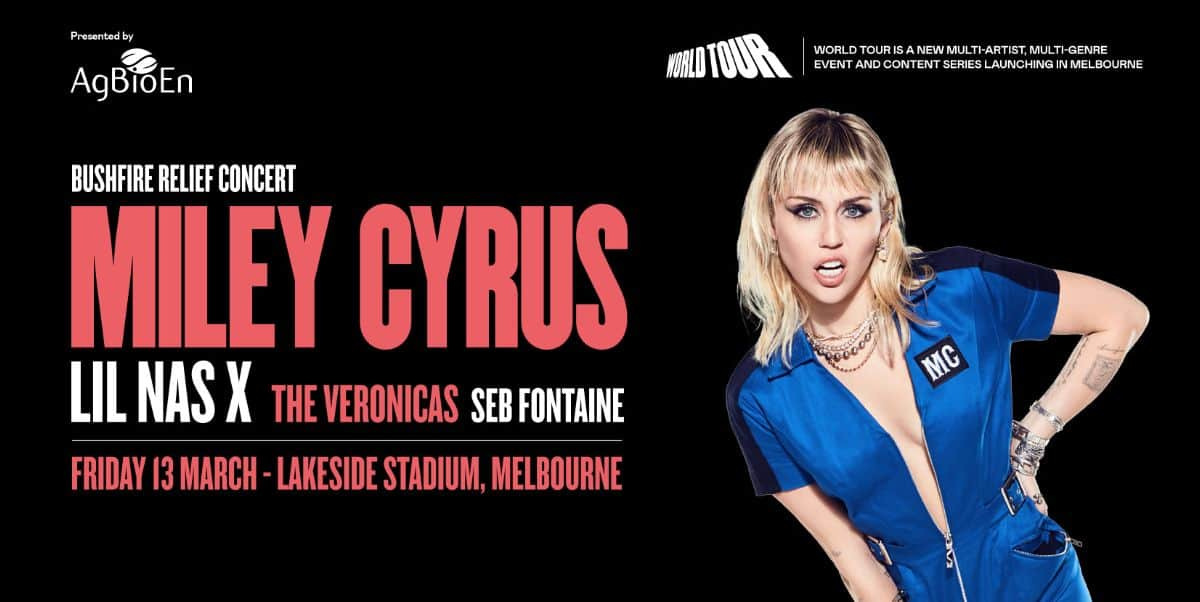 "Scene News: MILEY CYRUS To Headline ""WORLD TOUR BUSHFIRE RELIEF"" Charity Concert on 13th March in Melbourne Australia. TICKETS ON SALE TODAY AT 2pm AEST"